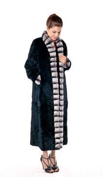 natural chinchilla rex rabbit fur coat-genuine rex rabbit fur coat-mandarin trim-plus size