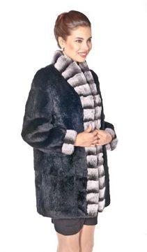 genuine real rabbit fur jacket-chinchilla rex trim-mandarin collar
