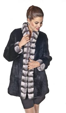 plus size-reversible chinchilla rex fur jacket-real rabbit fur jacket-chinchilla trim-mandarin