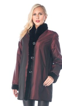women's real sheared mink fur jacket-reversible to fabric-burgundy