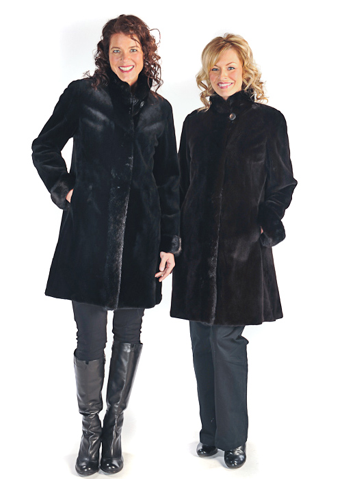 real sheared mink fur jacket-natural black-reversible to fabric