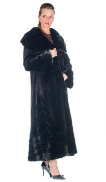 long fur mink sheared coat womens-large ruffled collar