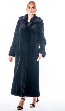 full length-black-mink fur sheared coat with detachable hood