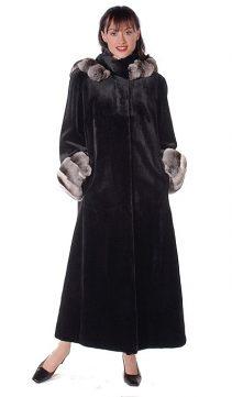 Sheared-Mink-Fur-Coat-Chinchilla-Trimmed-Hood