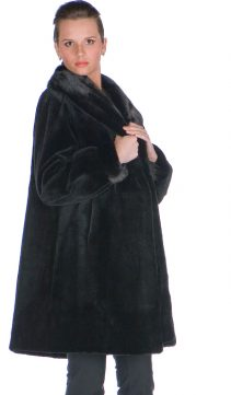 genuine black sheared mink fur jacket women's-shawl collar