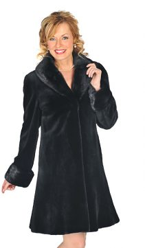 natural black genuine sheared mink jacket-empire style