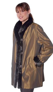 genuine real mink fur sheared jacket-reversible to fabric