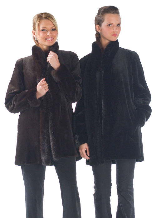 genuine sheared black mink jacket-reversible to fabric
