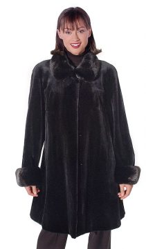 natural black-genuine sheared mink swing jacket