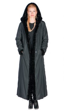 women's full length sheared mink hooded coat-reversible-black