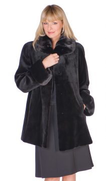 natural mink fur sheared jacket- european collar and cuffs