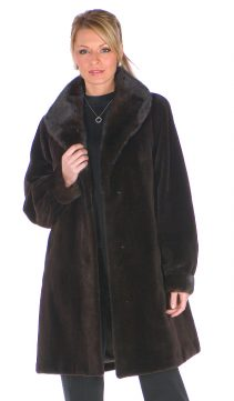 natural mahogany mink fur sheared jacket-shawl collar