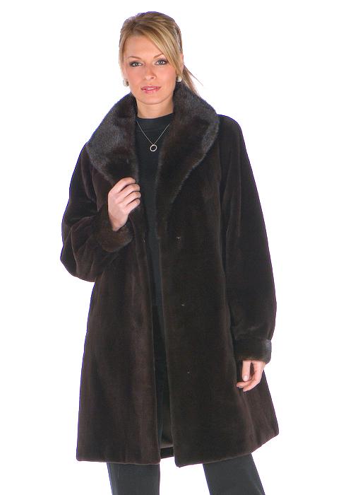 natural mahogany mink fur sheared jacket-shawl collar