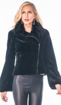 genuine real sheared mink fur jacket-motorcycle-biker jacket
