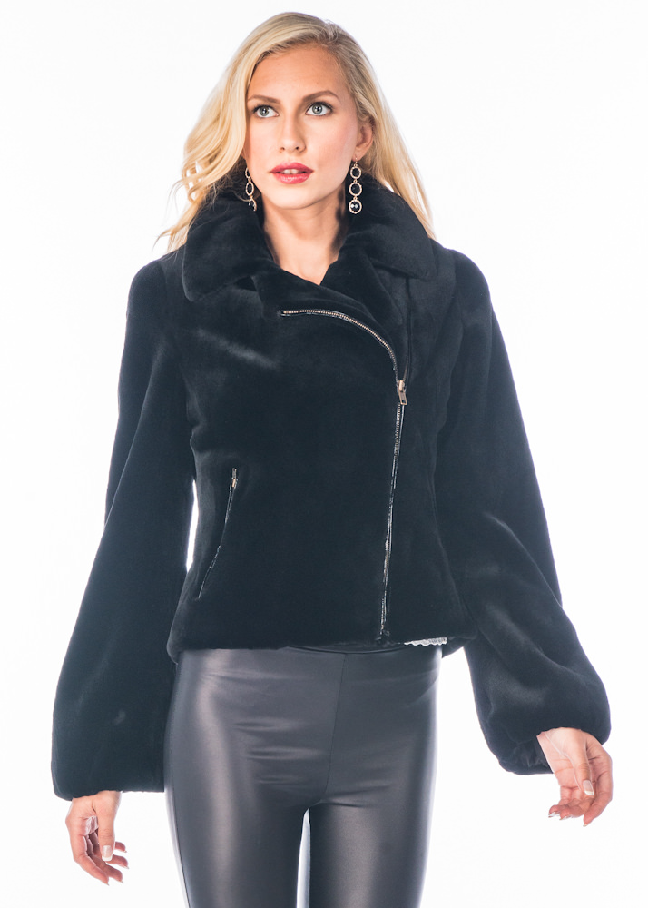 genuine real sheared mink fur jacket-motorcycle-biker jacket