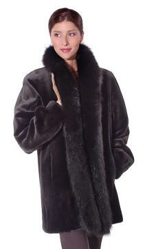 women's reversible sheared mink fur jacket-reversible to fabric