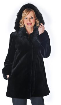 natural sable trimmed-sheared mink jacket-detachable hood