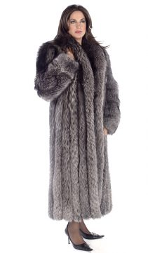 silver fox fur coat-long fox fur coat-shawl collar