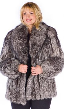 silver fox fur jacket-real-fox fur jacket plus size