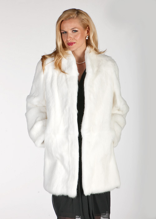 natural white- real rabbit fur jacket-white rabbit fur women's jacket-mandarin collar