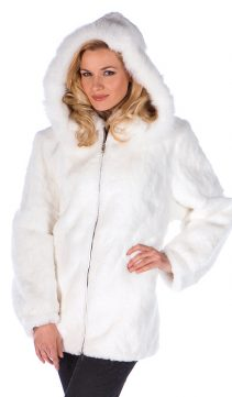 natural rabbit fur jacket parka-real white rabbit fur jacket-detachable hood