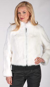 short zippered rabbit fur jacket-natural white fur rabbit jacket-plus size