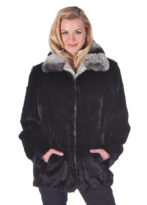 real rabbit fur bomber jacket for women-black zippered rabbit jacket-rex trim