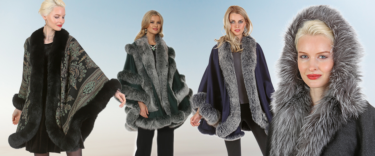 four ladies wearing beautiful grey and black fur capes and fur coats with trim