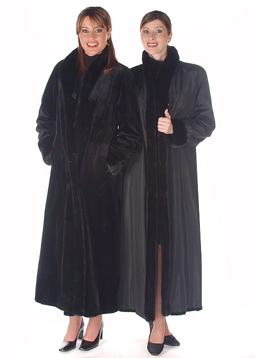natural black sheared mink fur coat-long-reversible to fabric