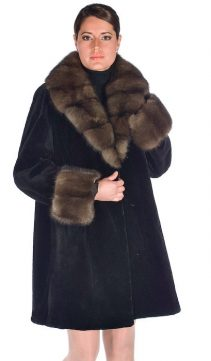 plus size sheared mink fur jacket-sable trimmed