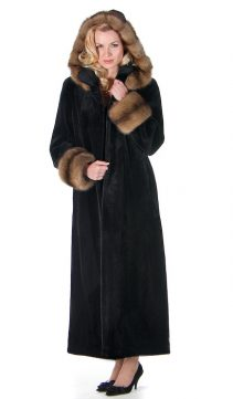 full length women's real mink fur sheared jacket-sable trimmed hooded
