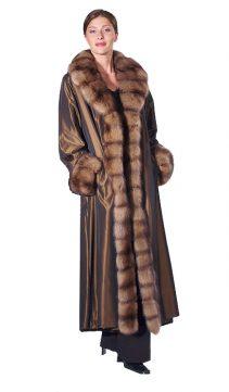 reversible sheared mink fur coat-full length-crosscut sable trim