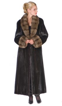 natural mink fur coat real-sable collar and cuffs