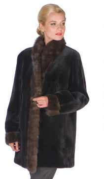 sheared mink fur jacket real-reversible-sable trim