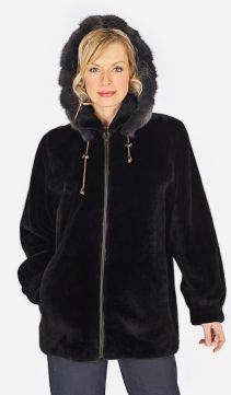 natural sable trimmed mink parka-sheared jacket-detachable hood