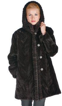 women's natural mink fur sheared jacket-mahogany-sculptured-detachable hood