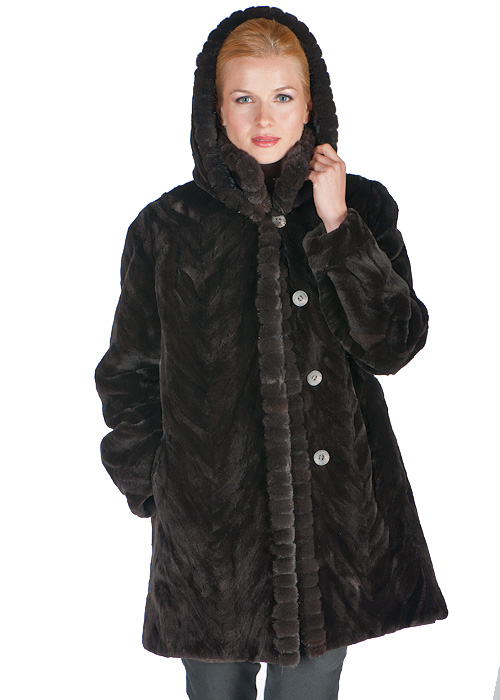 women's natural mink fur sheared jacket-mahogany-sculptured-detachable hood