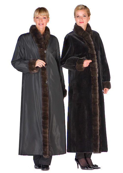 real sheared mink coat with sable trim-reversible to fabric