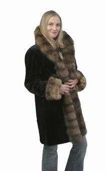 natural sheared mink fur jacket-sable trimmed
