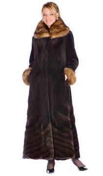 natural mink fur sheared coat-dark brown sable trim designs