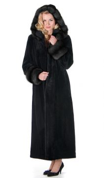 sable trimmed hooded mink sheared coat-black-full length-detachable hood