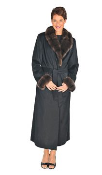 women's cashmere coat-sable fur collar and cuffs-black-long