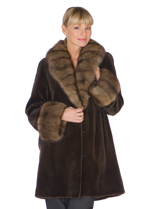 dark brown natural sable trimmed-genuine natural sheared mink jacket womens