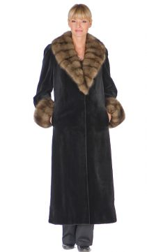 mink sheared long coat-genuine black natural sable trimmed