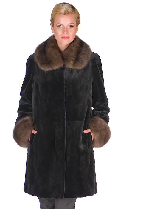 sheared mink jacket-sable trim collar and cuffs