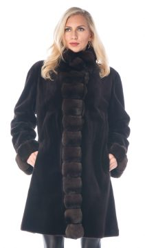 natural real mink fur sheared jacket-dark brown 3/4 chinchilla trim