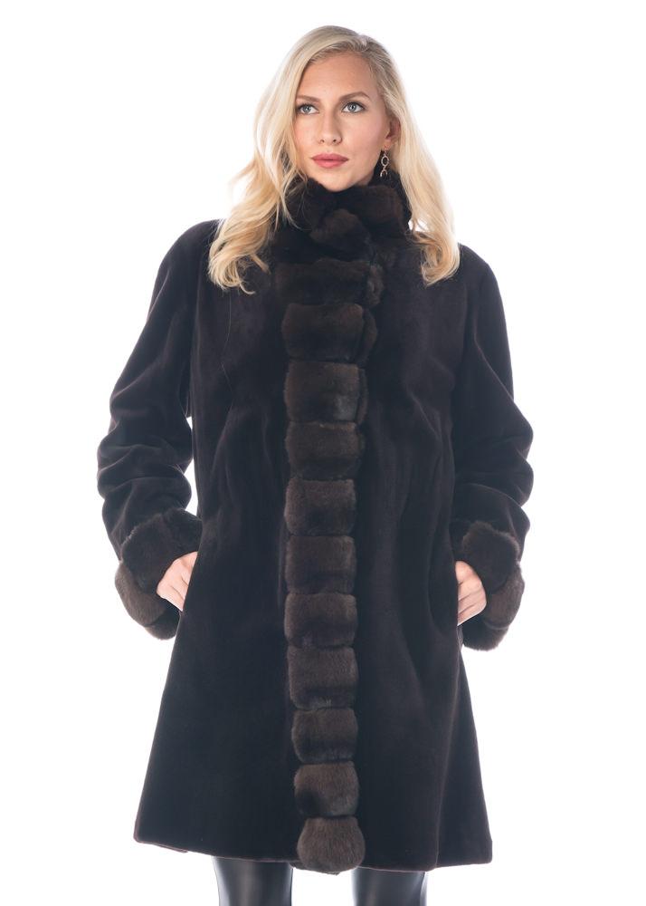 natural real mink fur sheared jacket-dark brown 3/4 chinchilla trim