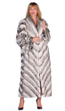 mink fur coat-black cross-chevron design