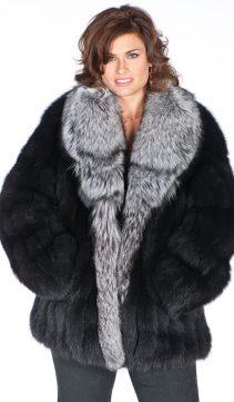 black fox fur jacket-silver fox fur shawl-genuine fox fur jacket womens