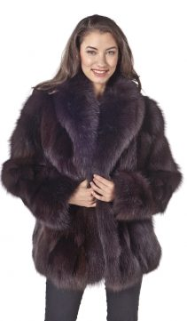 real fox fur jacket-natural brown fox fur-shawl collar